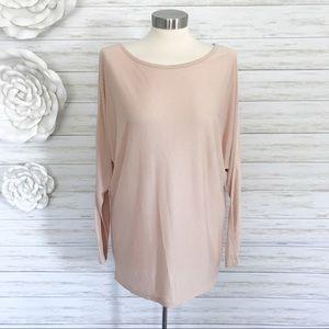 Vince Blush Pink Long Dolman Sleeve Tee Shirt Top